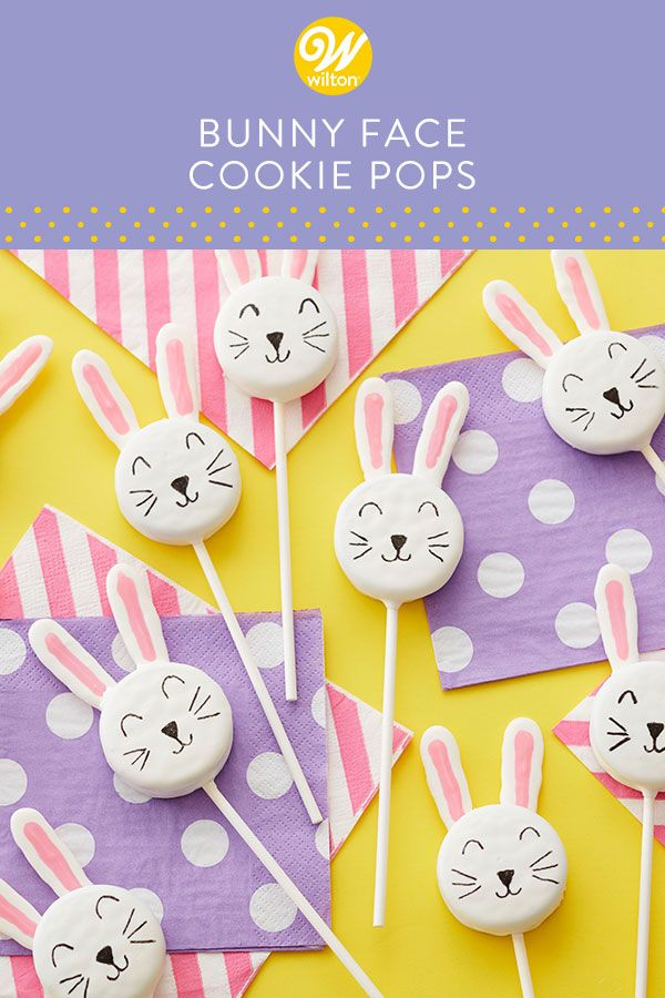 These cookie pops are treats every-bunny will love! Using Candy Melts candy and FoodWriter markers, you can make these adorable bunny face cookie pops for your next Easter party or spring celebration. #wiltoncakes #cookies #cookiedecorating #cookieideas #cookiepop #cookie #candymelts #candy #easterbunny #bunny #easter #easterdesserts #desserttable #homemade #baking #easy #basic #simple #beginner #spring #springtime #cute #kids #family #holiday #easteregg