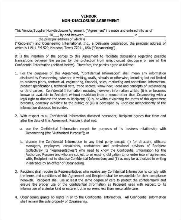 Nda Free Template 20 Word Non Disclosure Agreement Templates Free - contractor confidentiality agreement