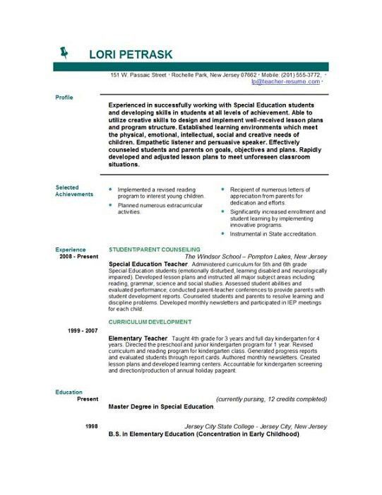 special education sample resume special education teacher