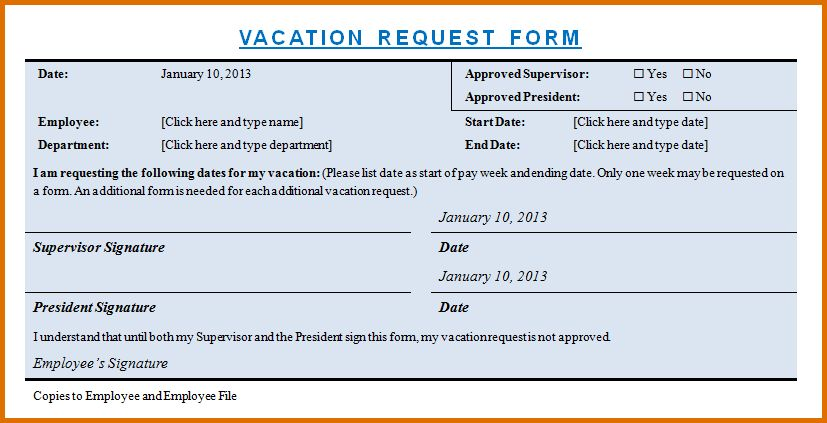Sample Vacation Leave Form Sample Vacation Request Form 8 - example of leave form