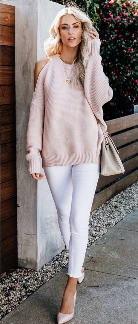 nude-colored cold-shoulder blouse #spring #outfits