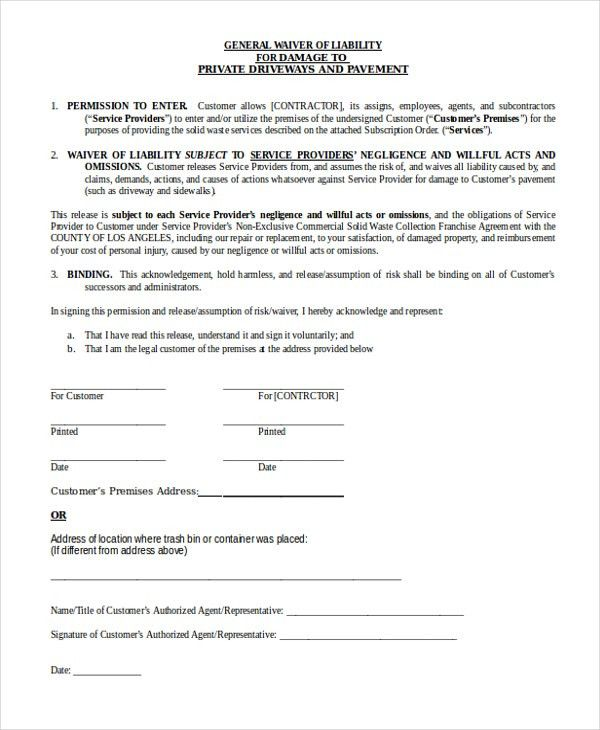 General Liability Waiver. general liability release of claims ...