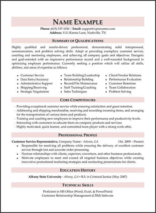 A Good Customer Service Resume Customer Service Resume Templates - sample resume for customer service rep