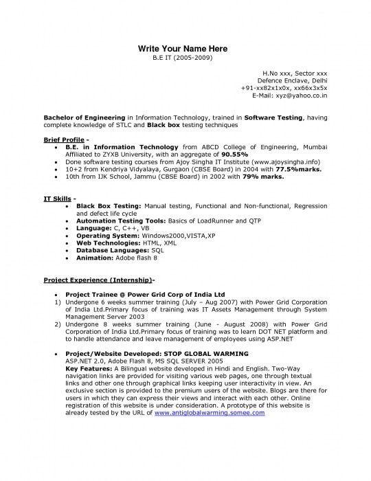Sample Resume For Software Testing Freshers 01 Fresher