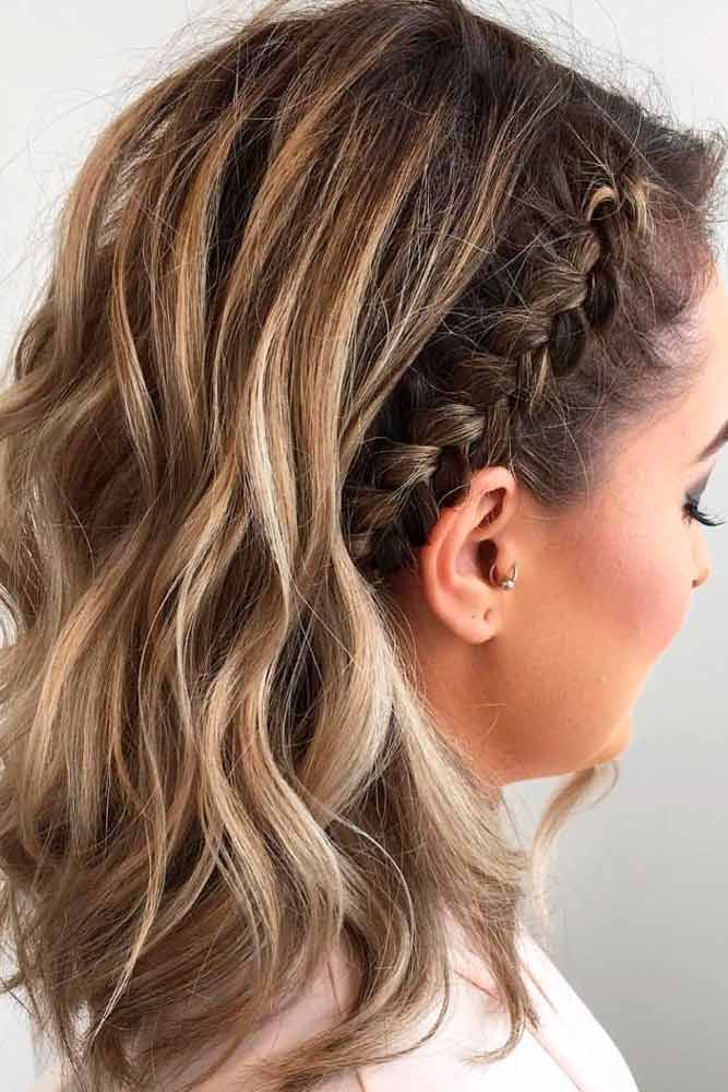 Quick Side French Braid Half Up #frenchbraids #halfup ★ Cute and easy shoulder length hairstyles for thin and for thick hair can be found here. These styles can work for adult women and for teens. #glaminati #lifestyle #shoulderlengthhairstyles