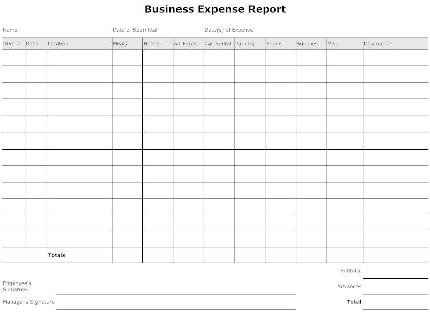 Printable Expense Report Expense Report Templates Free Download - sample expense sheet