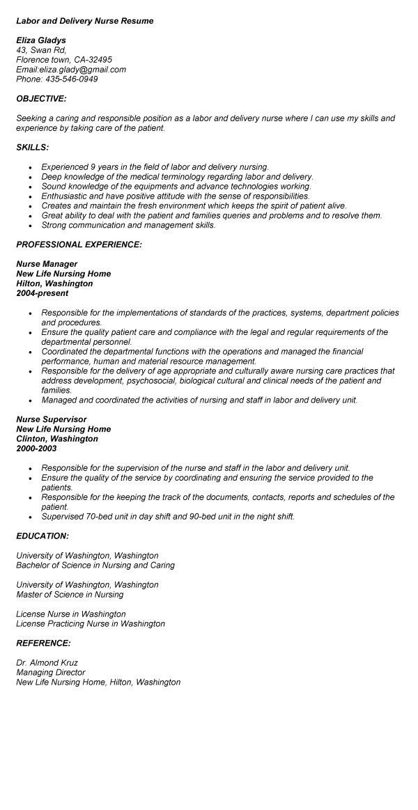 Labor And Delivery Nurse Resume Sample Professional Labor And  Director Of Nursing Resume