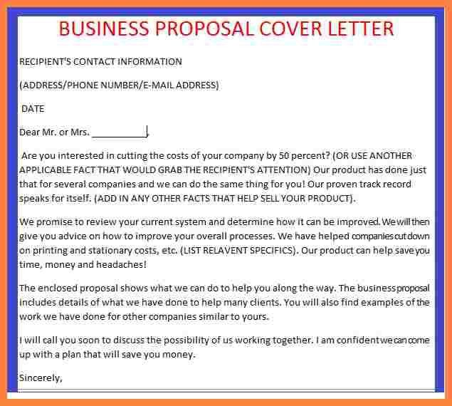 writing a business plan cover letter with examples