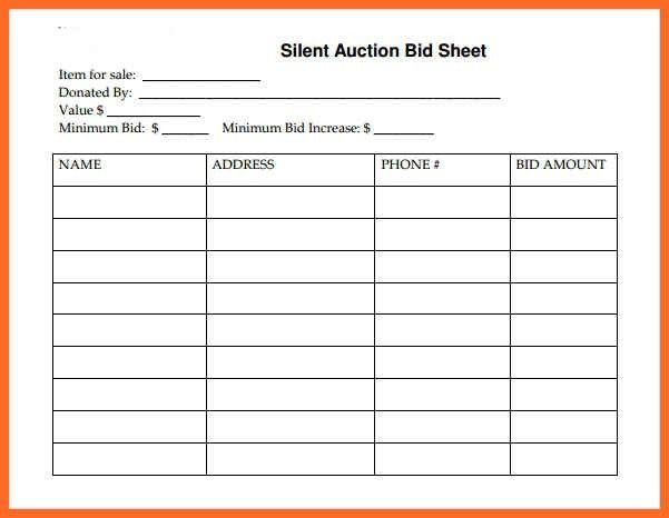 Bid Sheet Template Free Silent Auction Bid Sheet Template 17 - bid format