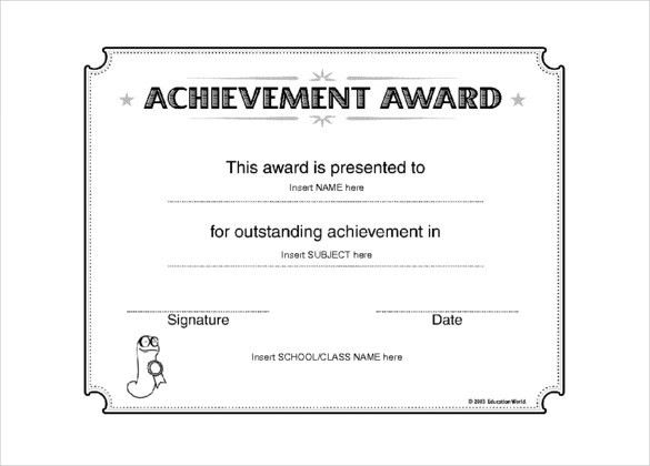 Certificate Of Achievement Word Template Free Printable - awards certificates templates for word