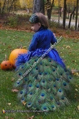 I decided to try my hand at making my daughter's homemade pretty peacock Halloween costume idea this year. I made an oblong circle skirt, so it was short i