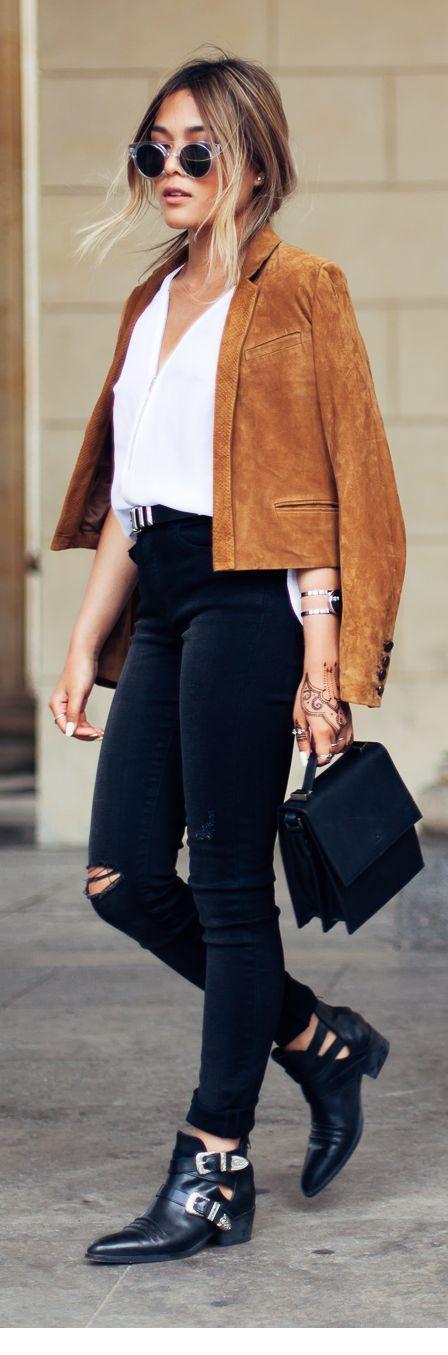 White shirt, pants and brown jacket