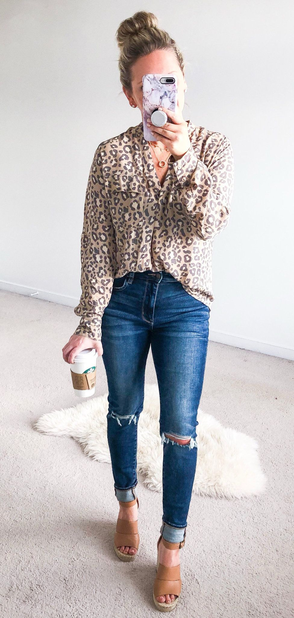 brown and gray long-sleeved button-up shirt and blue denim jeans #spring #outfits