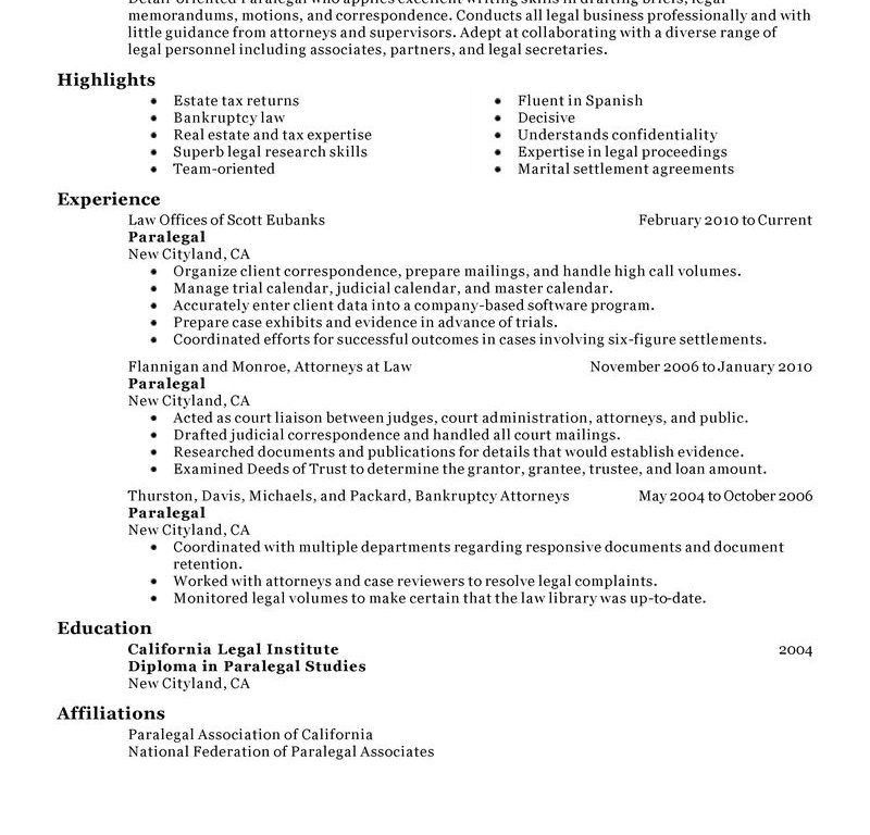 example of paralegal resumes