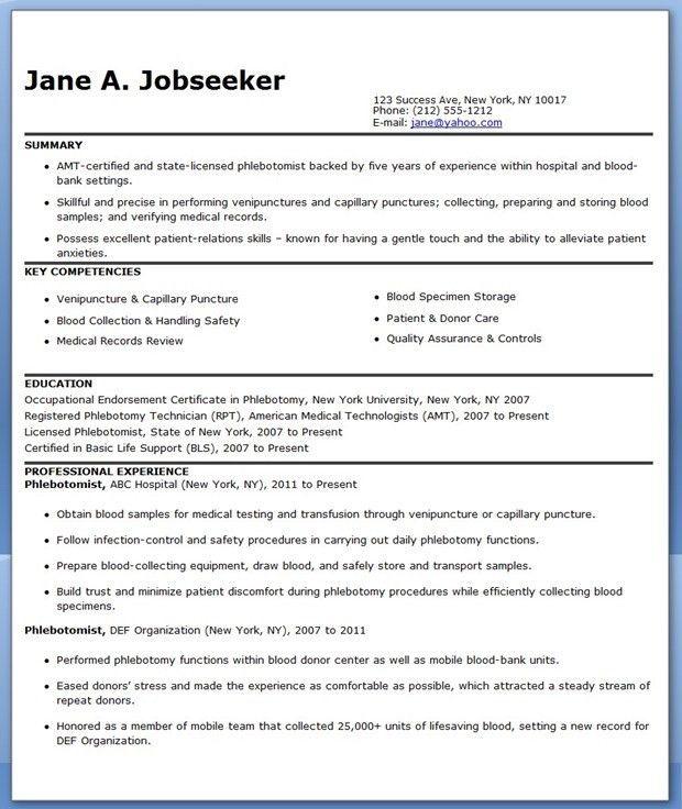 Phlebotomy Resume Cover Letter] Phlebotomy Resume Objective Resume