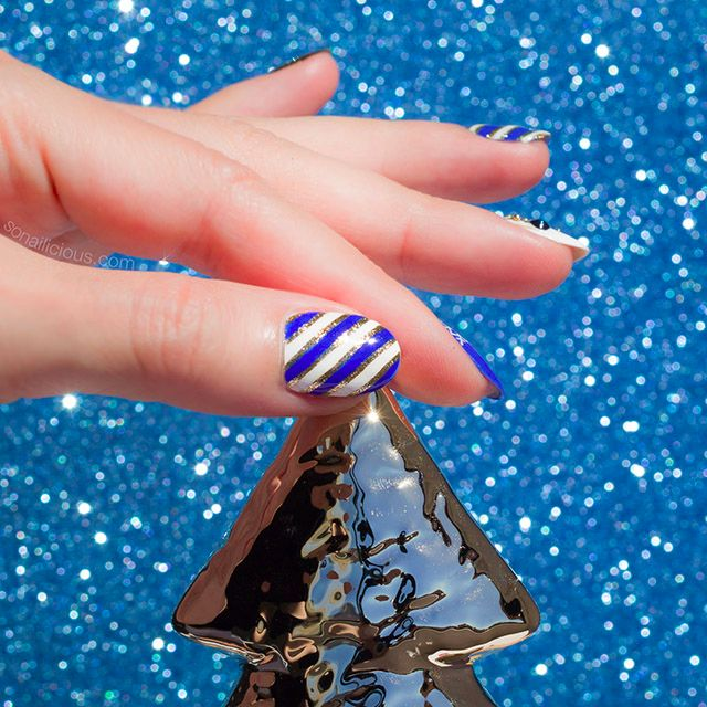 Pretty Christmas nails. Holiday nail art how-to on SoNailicious.com