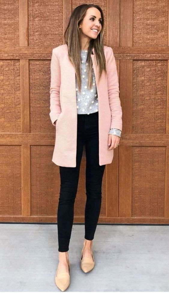 Grey blouse and pink coat, lovely combo