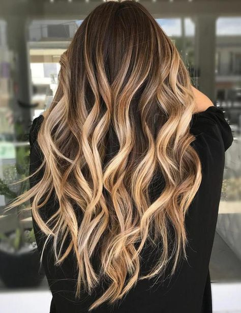 Caramel Bronde Balayage For Dark Hair