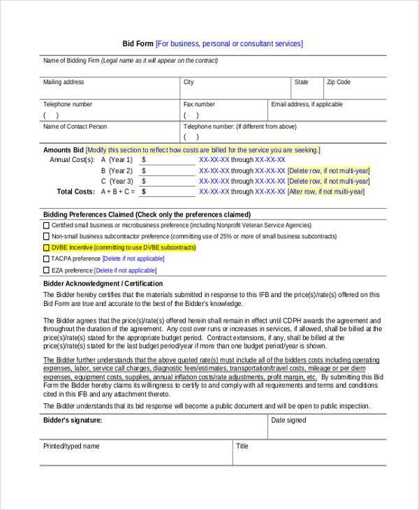Construction Form Templates Free Construction Project Management - sample silent auction bid sheet