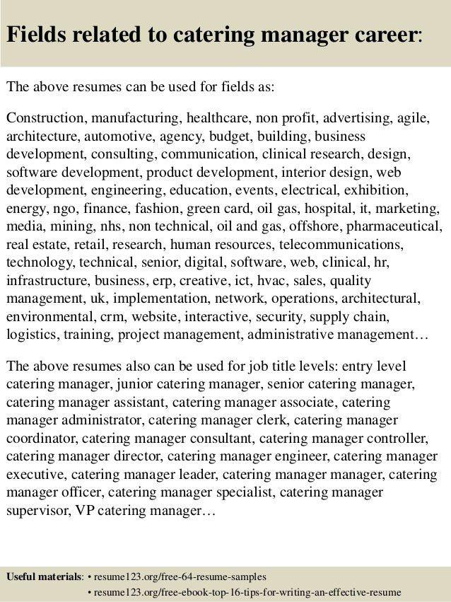 Catering Resume Sample  Catering Resume
