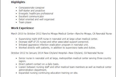 nursing resume examples 2012