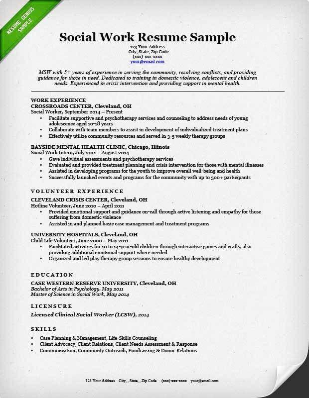Sample Of Social Worker Resume Social Work Resume Sample Writing