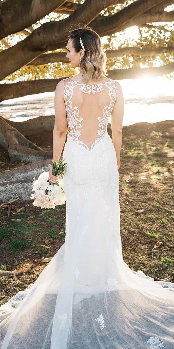 27 Stunning Trend: Tattoo Effect Wedding Dresses ❤ tattoo effect wedding dresses sheath illusion lace back olegcassiniau #weddingforward #wedding #bride