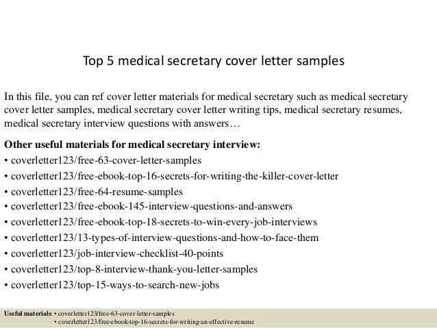Medical Secretary Cover Letter Medical Secretary Cover Letter - cover letter for receptionist