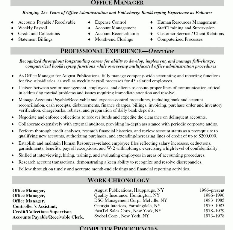 collections manager resume