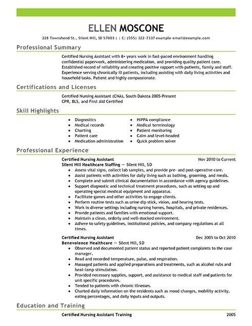 Cna Duties Resume. Cna Resume Sample Examples Of Resumes For Jobs