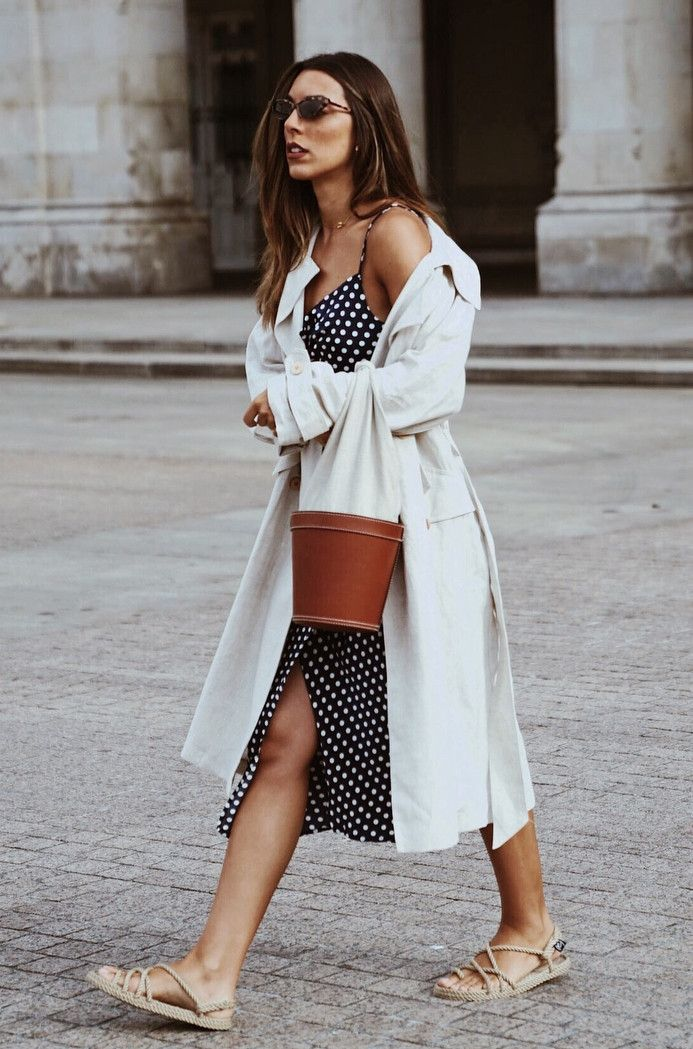 fashionbale outfit / white coat sandals polka dots dress bag