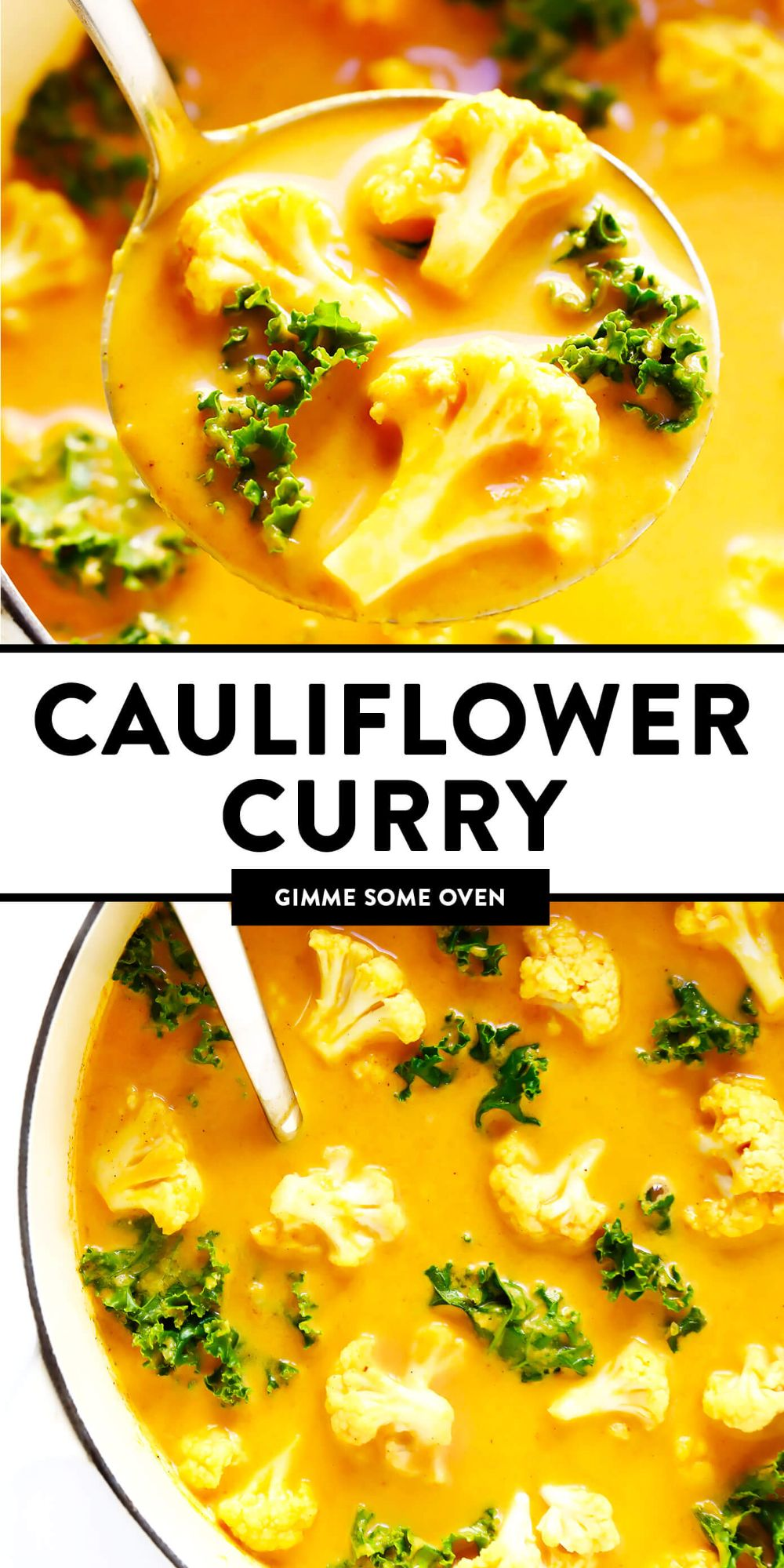 This healthy cauliflower curry recipe is easy to make, naturally gluten-free and vegan, and made with the most delicious creamy broth. It's the perfect one-pot easy dinner recipe that also makes great leftovers for meal prep! | gimmesomeoven.com #cauliflower #curry #soup #indian #dinner #healthy #vegetarian #vegan #glutenfree