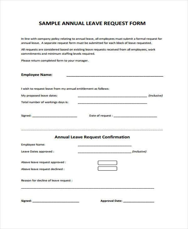 leave application form for employee – Sample Leave Request Form