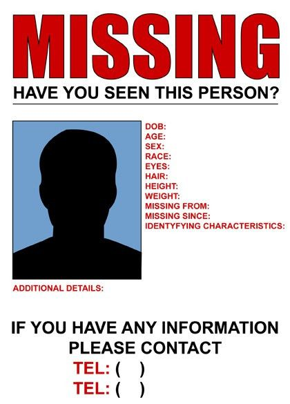 Missing Person Poster Generator - Fiveoutsiders - make a missing person poster