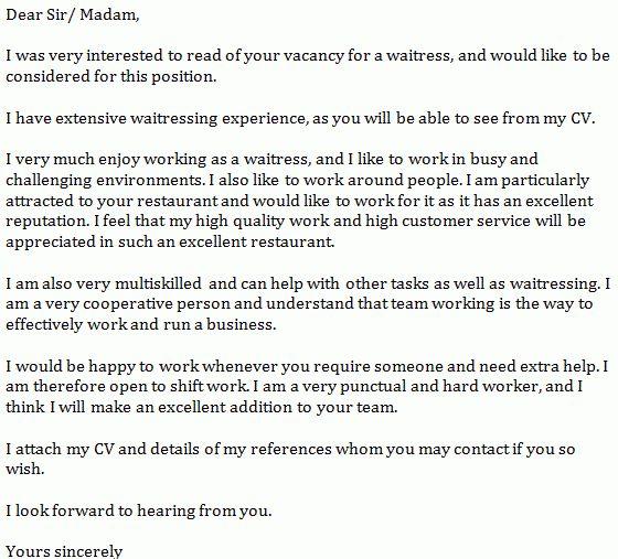 Cocktail Waitress Cover Letter Sample Job Description
