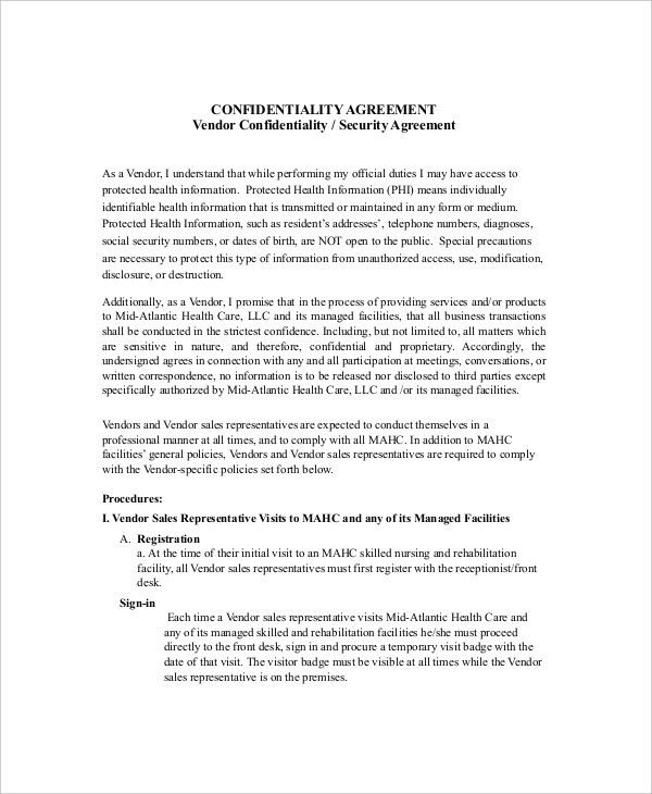 Vendor Contract Agreement 10 Vendor Agreement Templates Free - sample security agreement
