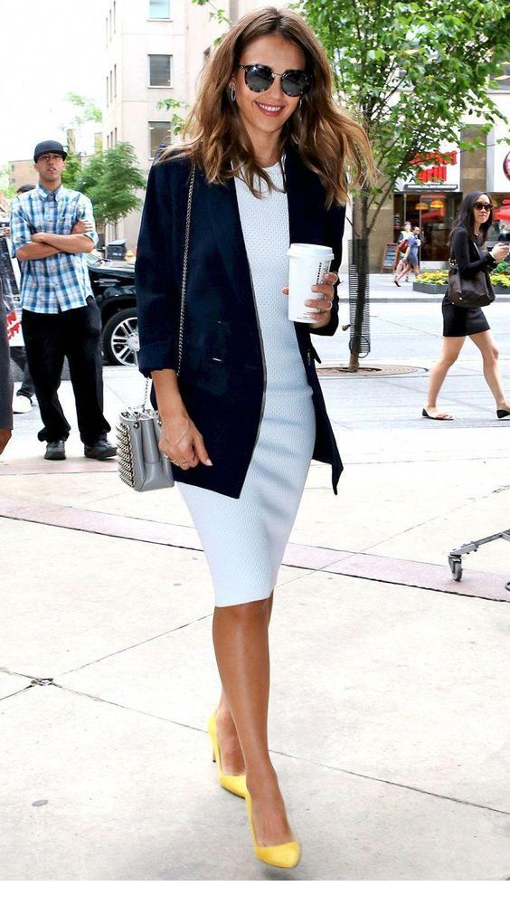 Cute light blue dress with a blazer