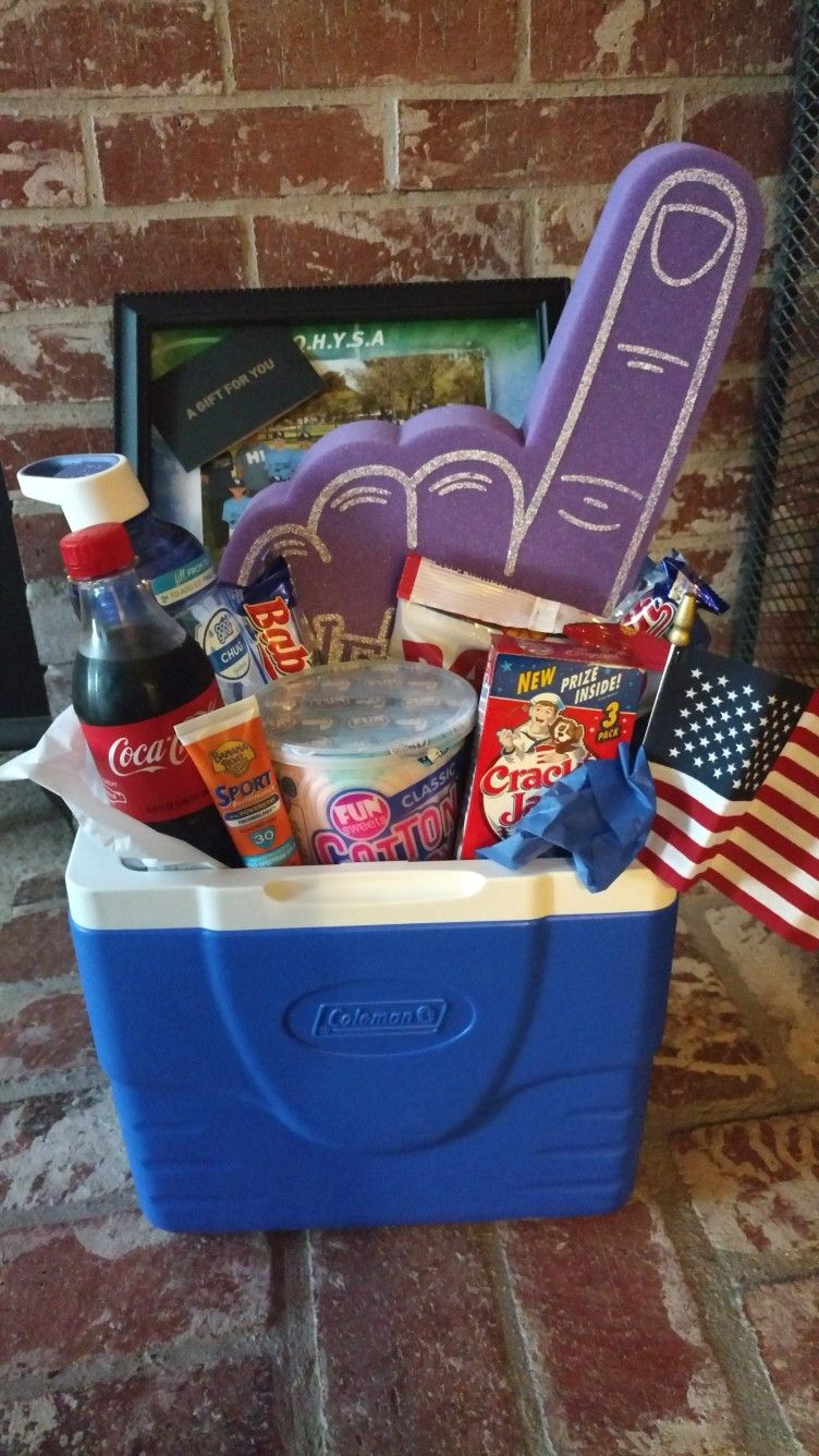 Baseball coach gift cooler filled with nostalgic and
