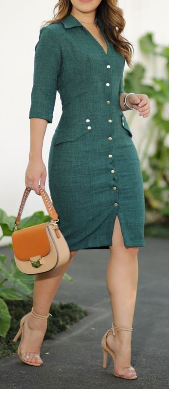 Sweet retro green dress style