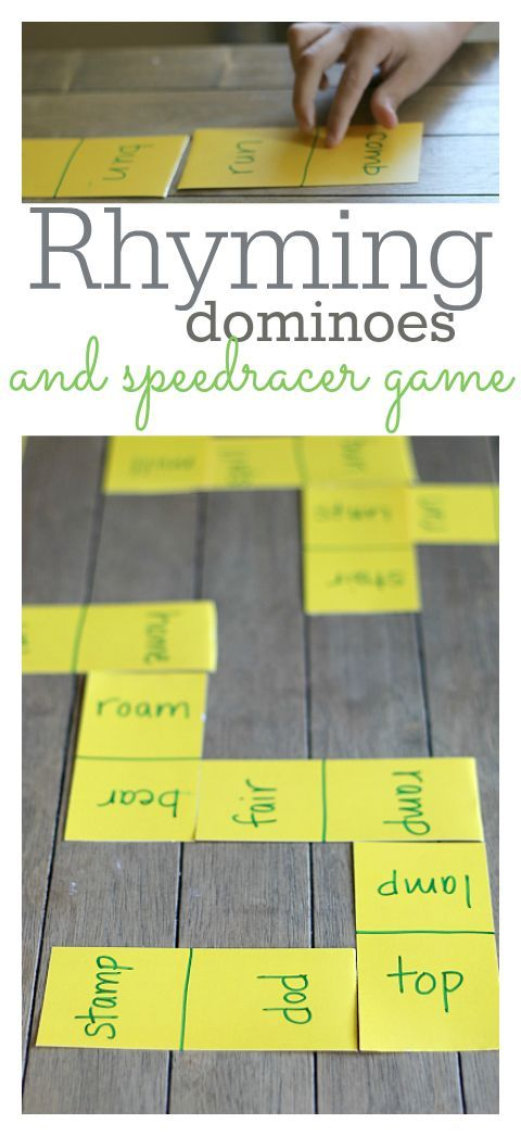 Rhyming Dominoes and Speedracer Game - Learning After School - No Time For Flash Cards