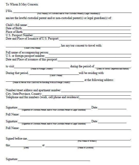 Child Travel Consent Form Usa Child Travel Consent Usa Legal - passport consent forms