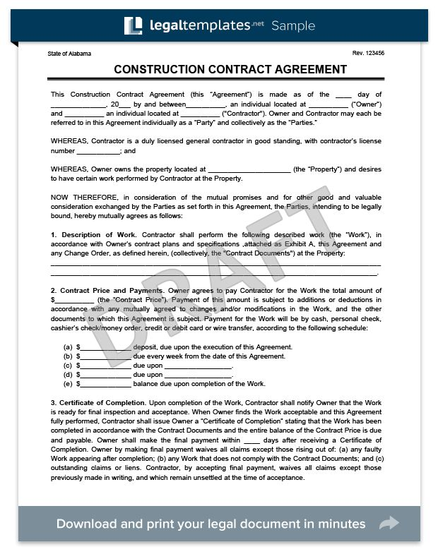 Construction Contracts Templates 9 Sample Construction Contract - free sample construction contract