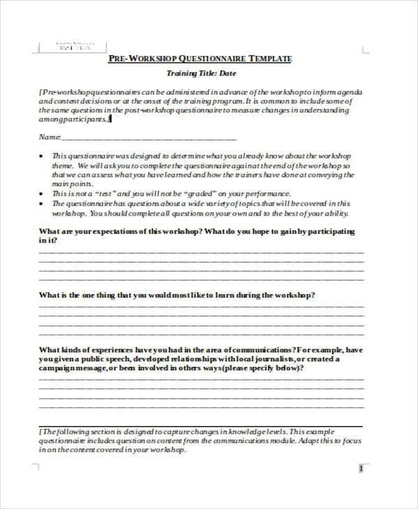 Pre Training Evaluation Form Doc  GetpaidtotakesurveyonlineInfo