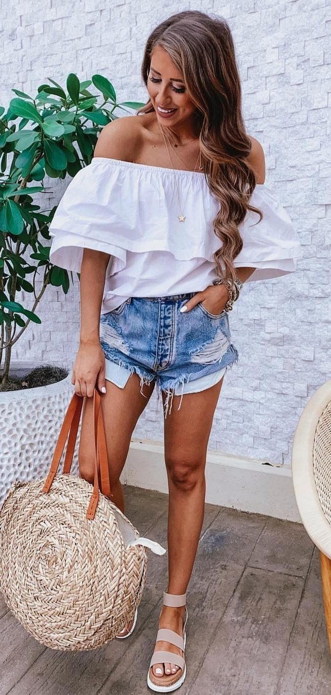 white off shoulder shirt #spring #outfits