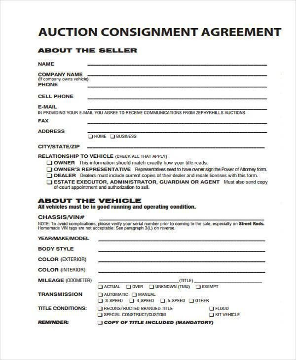 Consignment Form Template Consignment Contract Template 4 Free - consignment agreement template