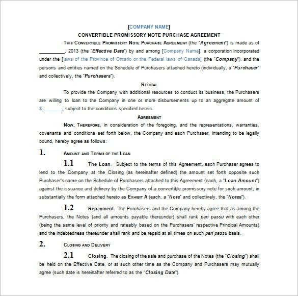 Draft Promissory Note Agreement Promissory Note Template Free - convertible note agreement template