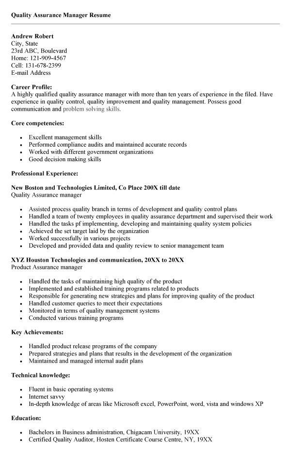 Quality Assurance Auditor Sample Resume Unforgettable Quality