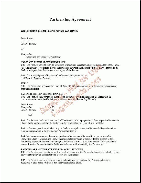 Partnership Agreement Form Partnership Agreement Template Form - business partnership contract