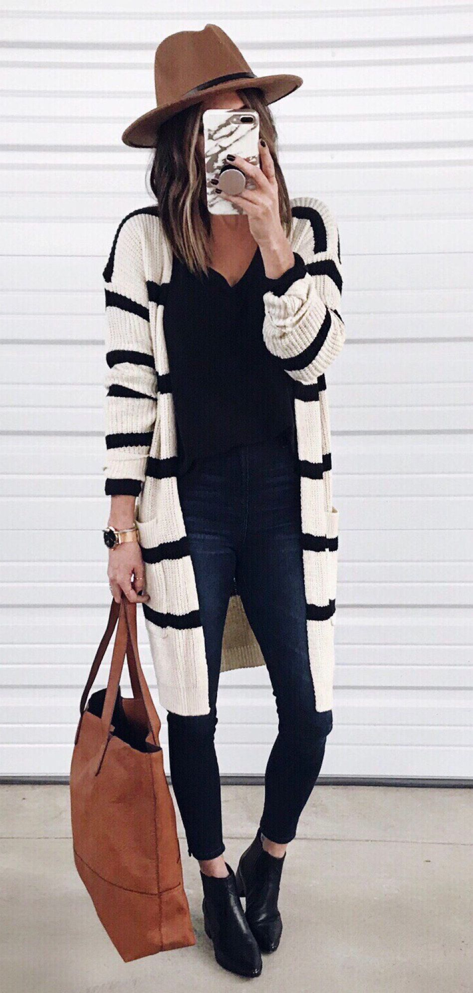 black and white stripe dress #winter #outfits