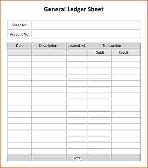 Ledger Template Free General Ledger Template And Free Download - account ledger template